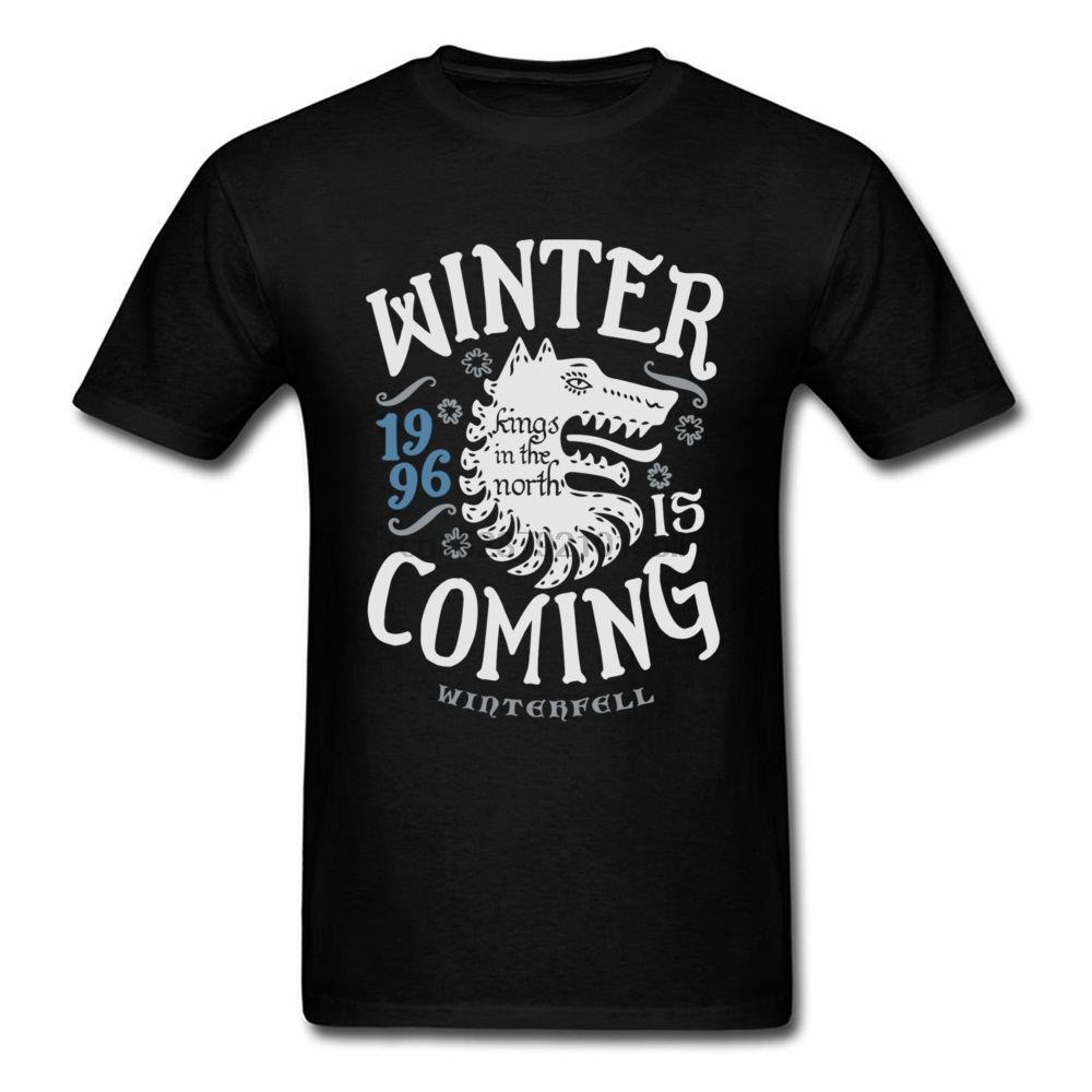 Kings In The North T-shirt Men T Shirt Winter Is Coming Tshirt Wolf Tops Letter Tees Vikings Black Clothing Slim Fit 1996
