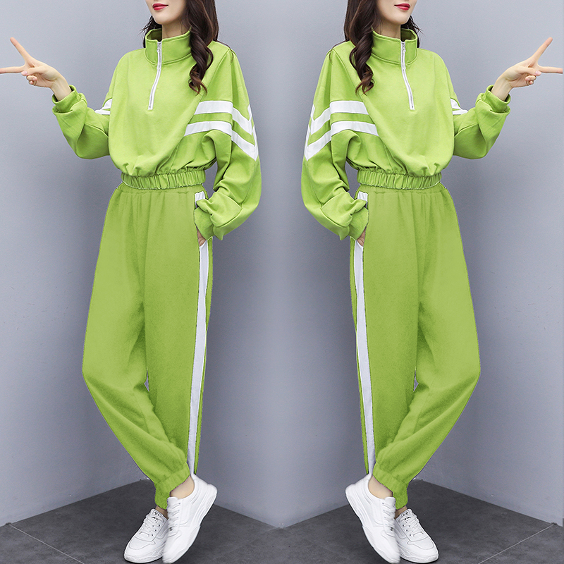 Fashion Long-sleeved Women's Sports Suit 2020 Spring Tracksuit Female Lapel Top+pant Two Piece Outfits Loose Casual