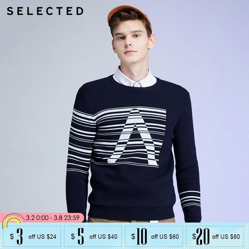 SELECTED Contrasting Stripe Letter Print Round Neckline Sweater   419424501
