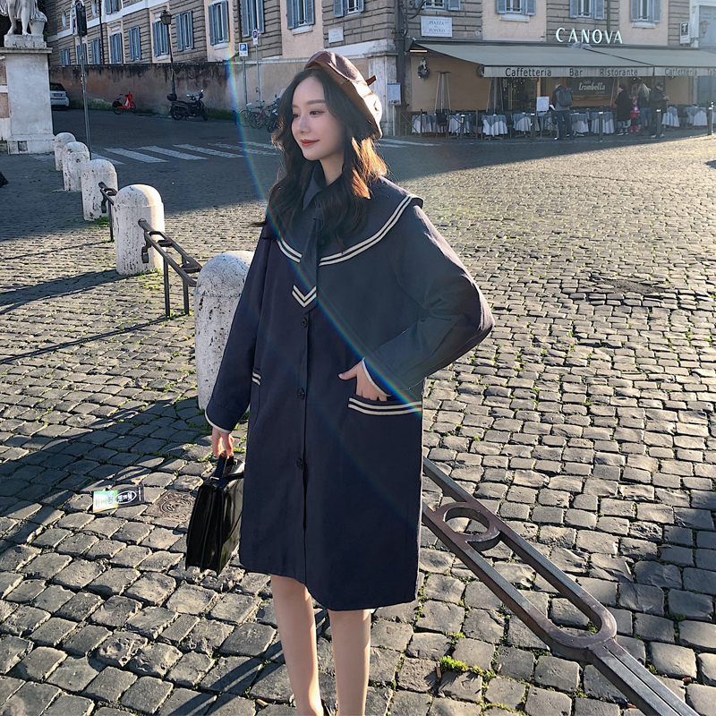 2020 Spring And Autumn New College Wind Japanese Navy Collar Dress Fashion Casual Big Pocket Top Jacket Navy Blue S-XL