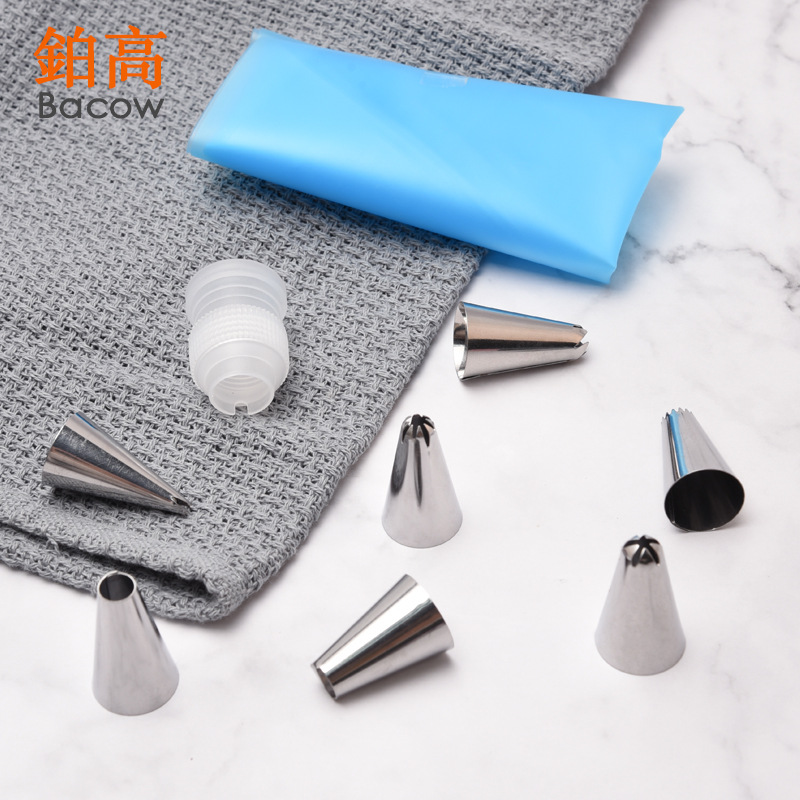 9 PCS Set Silicone Pastry Bag Tips Kitchen DIY Icing Piping Cream Reusable Pastry Bags 7 Nozzle Set Cake Decorating Tools in Baking Pastry Tools from Home Garden
