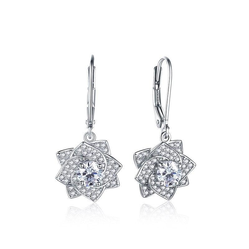 2019 nouveau 100% 925 argent sterling incrusté zircon rose boucles d'oreilles mode boutique bijoux femmes cadeaux de mariage