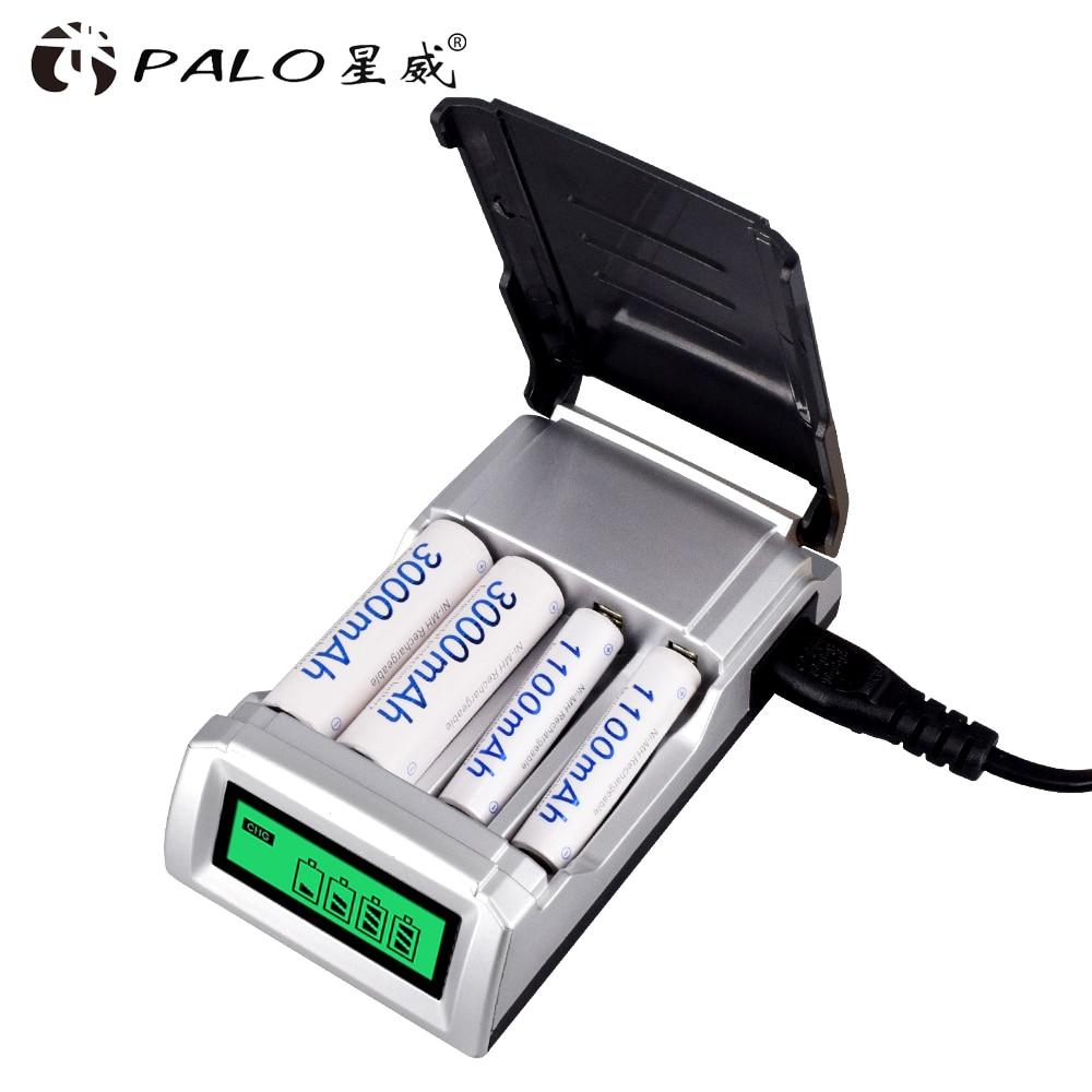 Pantalla LCD con cargador de batería de domótica de 4 ranuras para pilas recargables AA/AAA NiCd NiMh
