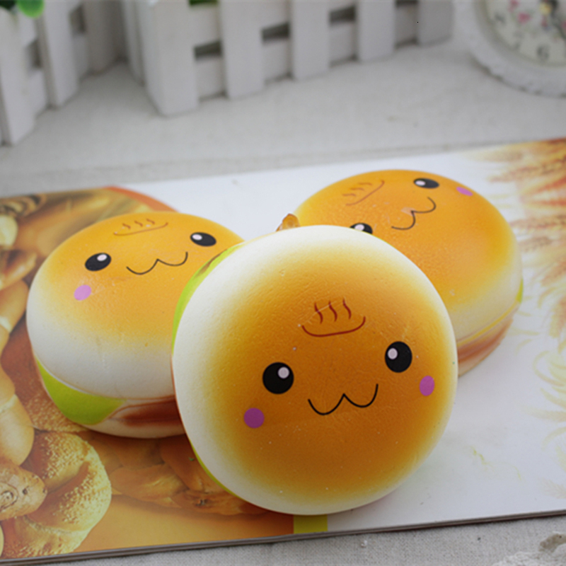 10CM Kawaii Jumbo Face Antistress Hamburger Squishy Burger Charms Slow Rising Squshy Toys For Children