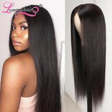 Longqi Hair 4x4 кружева закрытие парик 150% 180% Плотность Малайзии прямые волосы парик шнурка 14-26 дюймов, Remy (Реми), человеческие волосы прямые парики