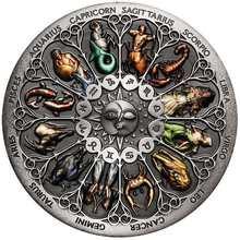 Moneda de plata del Zodíaco Tuvalu, signo del zodiaco, de 40x3mm