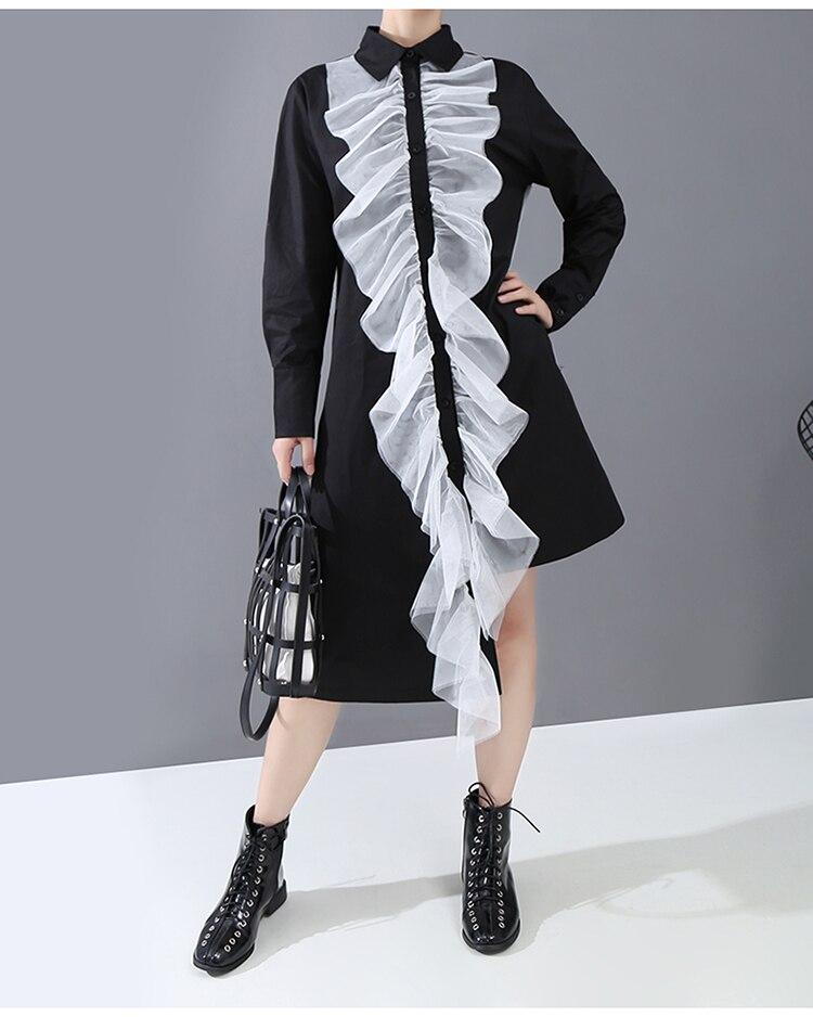 New Fashion Style Elegant Ruffles Stitched Shirt Dress Fashion Nova Clothing