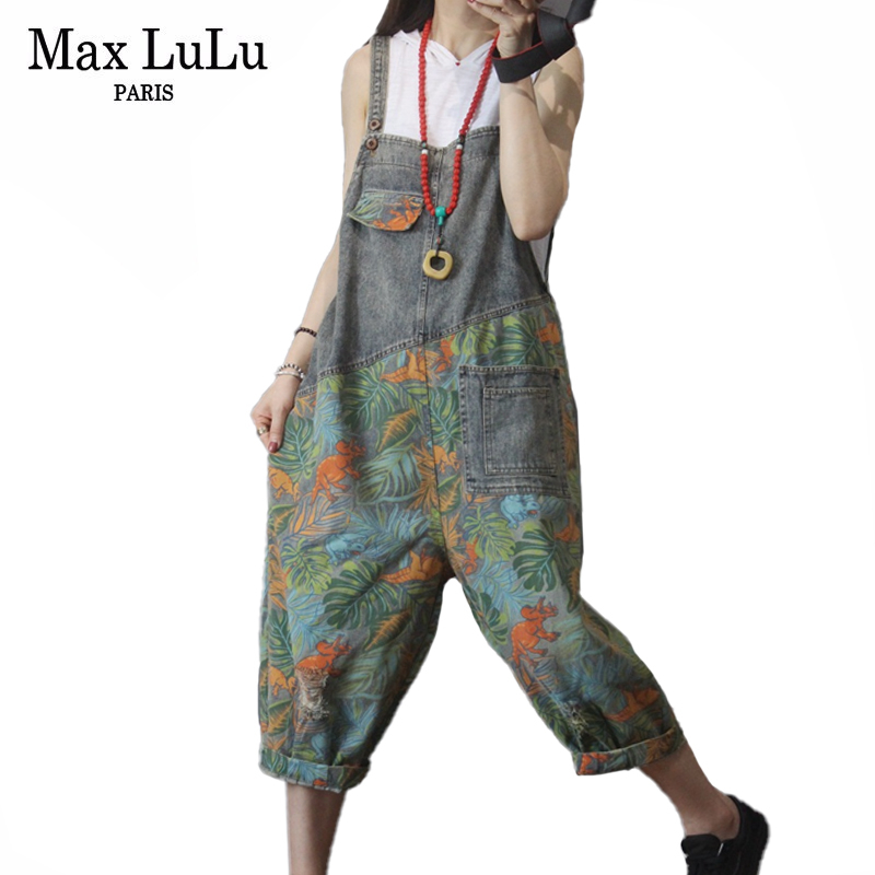 Max LuLu New 2020 Korean Fashion Ladies Summer Denim Trousers Women Floral Printed Jeans Female Vintage Overalls Pants Plus Size