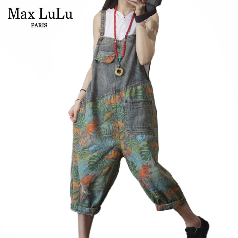 Max LuLu New 2020 Korean Fashion Ladies Summer Denim Trousers Women Floral Printed Jeans Female Vintage Overalls Pants Plus Size