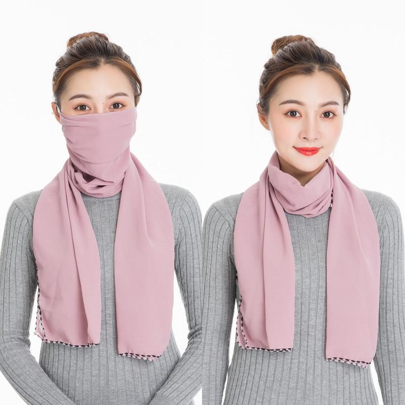Autumn Winter Mask Scarf Soft Solid Chiffon Women's Scarves Fashion Warm Shawl Scarfs For Ladies Echarpe Foulard Femme Bufandas