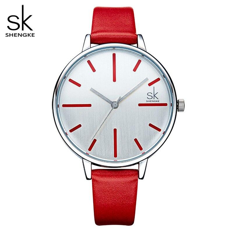 Shengke Luxury Quartz Women Watches Brand Fashion Leather Ladies Watch Clock Relogio Feminino For Girl Female Wristwatches