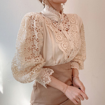 Petal Sleeve Stand Collar Hollow Out Flower Lace Patchwork Shirt Femme Blusas All-match Women Blouse Chic Button White Top 12419 2