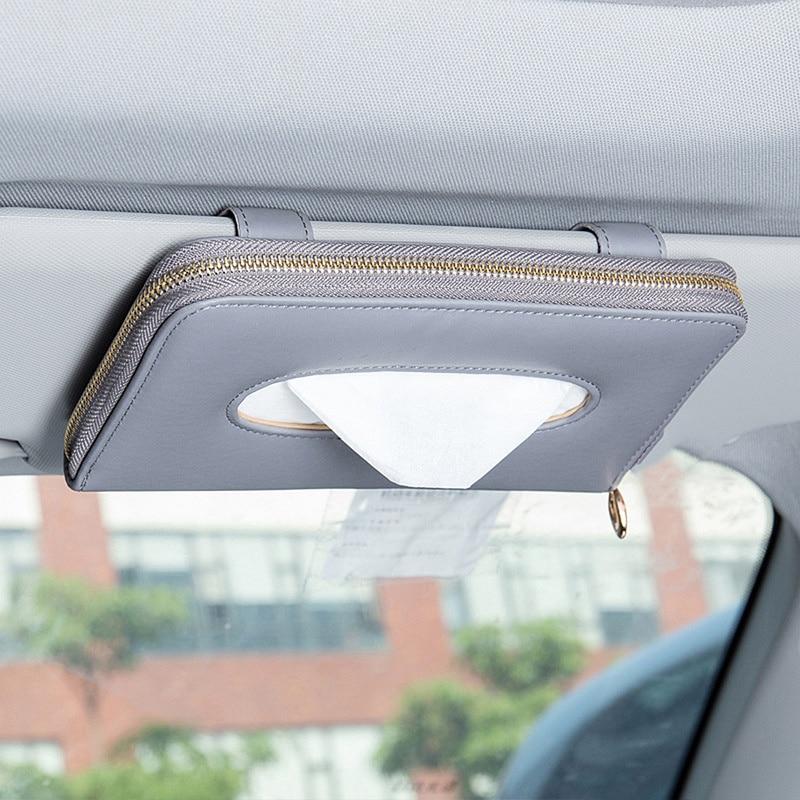 Car Sun Visor PU Leather Tissue Box Cover Case Car Clip Holder Paper Napkin  Organizer Car Interior Accessories 2021