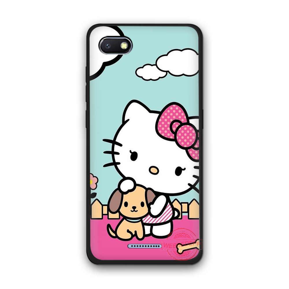 WEBBEDEPP Hello Kitty moda suave funda de silicona para teléfono Redmi Note 6Pro 7Pro 4A 4X5 5A 6A 8A 6Pro 7 S2 note 8