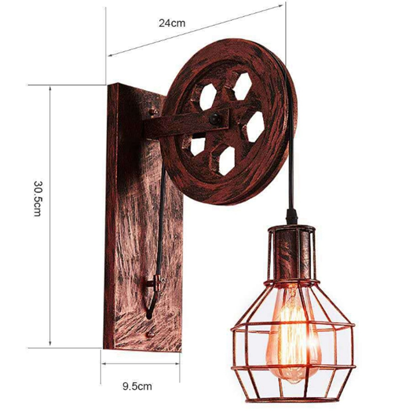 Country Wall Lamp Industrial Retro Wall Lamp Creative Wrought Iron Wall Lamp Personalized Restaurant Corridor Aisle Lamp