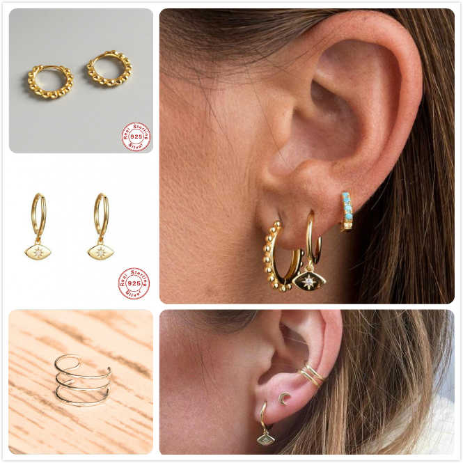 925 Sterling Silver Earrings For Women Gold Small Hoop Ear Bone Earring Men Ear cuff aretes Girl Party Gift Evil Eye Earrings R5