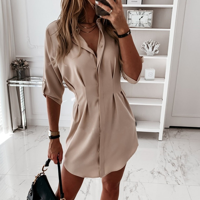 Spring Solid Casual Women Shirt Turn Down Collar Half Sleeve Shirts Female 2020 Summer Irregular Hem Office Lay Women's Clothing