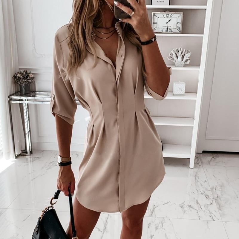 Spring Solid Casual Women Shirt Turn Down Collar Half Sleeve Shirts Female 2020 Summer Irregular Hem Office Lay Women's Clothing