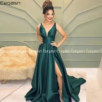 Eeqasn Elegant A Line V Neck Emerald Green Long Prom Dresses Slit Satin Women Formal Graduation Evening Dress 2020 Plus Size - discount item  35% OFF Special Occasion Dresses