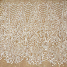 New high-end mesh embroidery fish tail wedding dress making lace sequined fabric fabric DIY stripes white wedding dress fabric