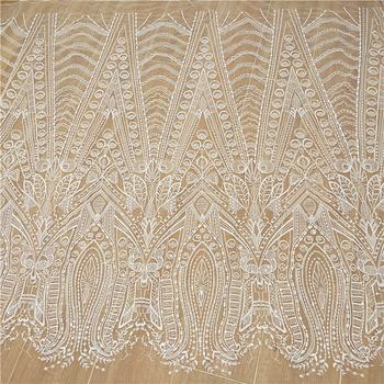New high-end mesh embroidery fish tail wedding dress making lace sequined fabric fabric DIY stripes white wedding dress fabric 110cm wide wedding dress lace embroidery diy women clothes materials clothing fabric accessories ivory white church happy hour