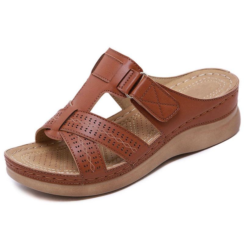 2021 Summer Women Wedge Sandals Premium Orthopedic Open Toe Sandals Vintage Anti-slip Leather Casual Female Platform Retro Shoes 3