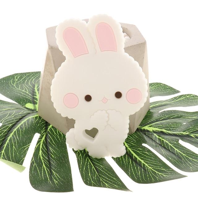 Fkisbox 10 قطعة القوارض سيليكون الأرنب الطفل عضاضة الأرنب BPA الحرة الرضع مضغ السحر التسنين إكسسوارات عقد قلادة اللعب