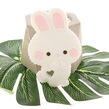 Fkisbox 10 adet kemirgen silikon tavşan bebek diş kaşıyıcı tavşan BPA ücretsiz bebek Chew Charms diş çıkarma kolye aksesuarları kolye oyuncaklar