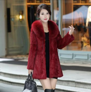 Female Pure 100% True Genuine Rabbit Fur Coat with Fur Hood and Luxury Natural Fox Fur Collar Customize Plus Size S-6XL image