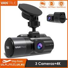 Vantrue 3 canais n4 traço cam 4k câmera maneira carro vídeo recoder dashcam câmera frontal e traseira com visão noturna para dvr carro táxi