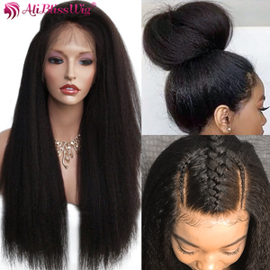 Image 4 - Italian Yaki Full Lace Human Hair Wigs For Black Women Kinky Straight Lace Front Human Hair Wigs Remy Brazilian Pre Plucked