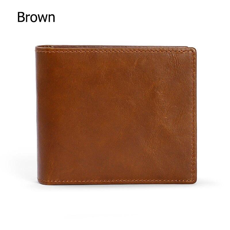 Мужские кошельки с блокировкой RFID, винтажный кошелек из натуральной коровьей кожи, мужской кошелек ручной работы на заказ, кошелек для монет по цене доллара, короткий кошелек carteira - Цвет: Brown
