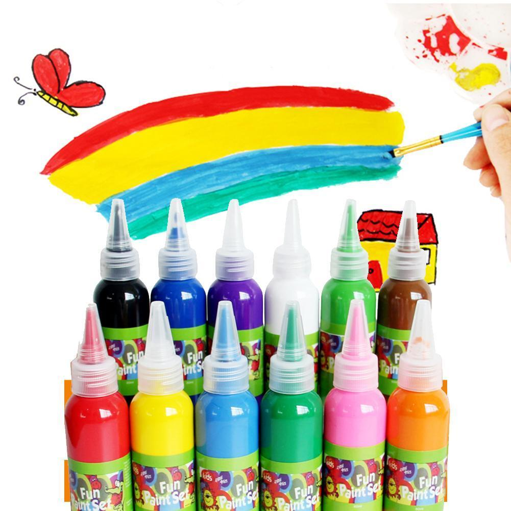 60ml Children's Pigment Gouache Pigment 12Colors Finger Watercolor Painting Supplies Paint Art P4A3