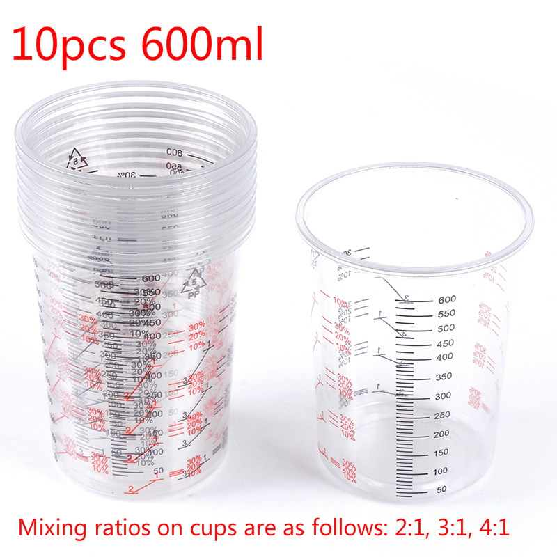 10pcs 600ml Plastic Paint Mixing Cups Mixing Pots Paint Mixing Calibrated Cup For Accurate Mixing Of Paint And Liquids