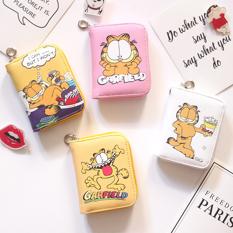 New Arrival Cartoon Cats Short Wallet Women Girls Garfield Cats Card Holder Zipper Clutch Coin Purse Carteira Feminina