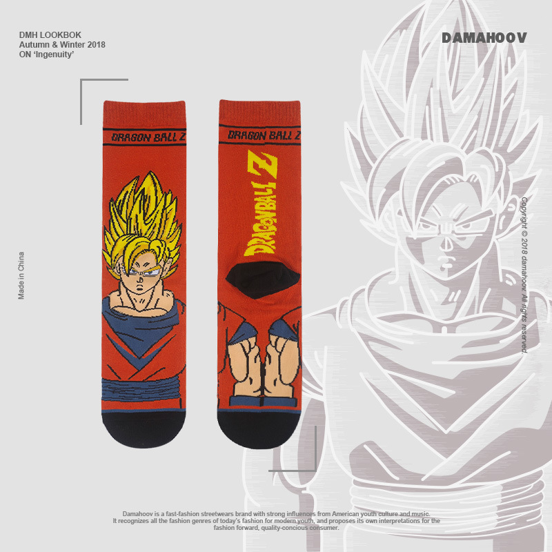 Cartoon Socks Dragon Ball Handsome The Monkey King Super Men Street Wear Fashion Funny Men Socks  Gifts For Men