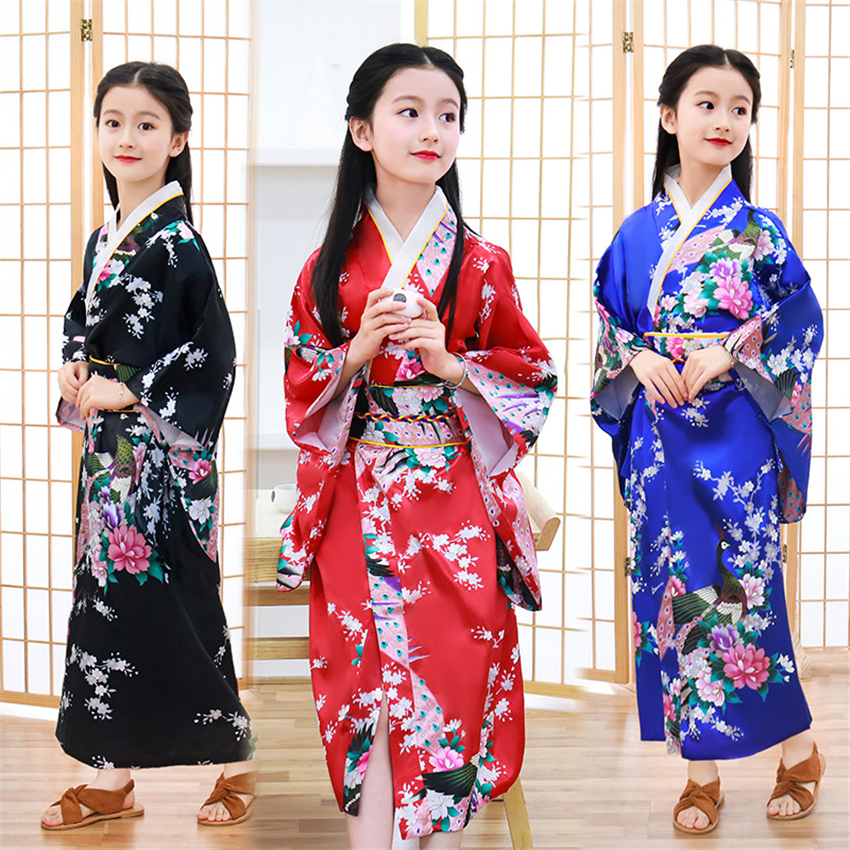 Traditional Japanese Kimono For Girls Dress Long Sleeve Peacock Party Festival Wear Japan Fashion Asian Kimonos Obi Clothing