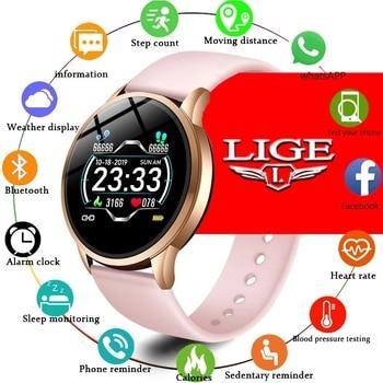 LIGE Fitness Tracker IP67 Waterproof Smart Bracelet Screen heart rate Monitor Pedometer Wristband Sport smart watch Women
