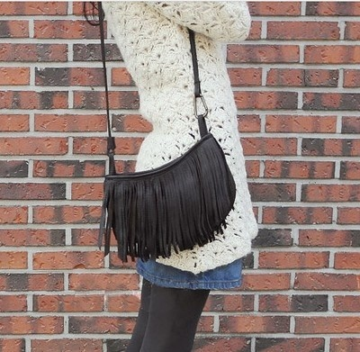 Women PU Leather Tassels Hobo Clutch Purse Handbag Celebrity Tassel Suede Fringe Shoulder Messenger Handbag