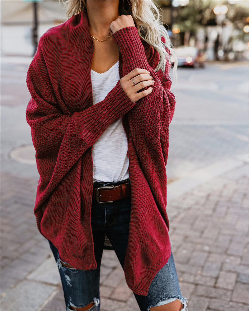 2019 automne vêtements femmes tricoté chandail Cardigan tricot chandails femmes manches chauve-souris solide crochet chandail femmes