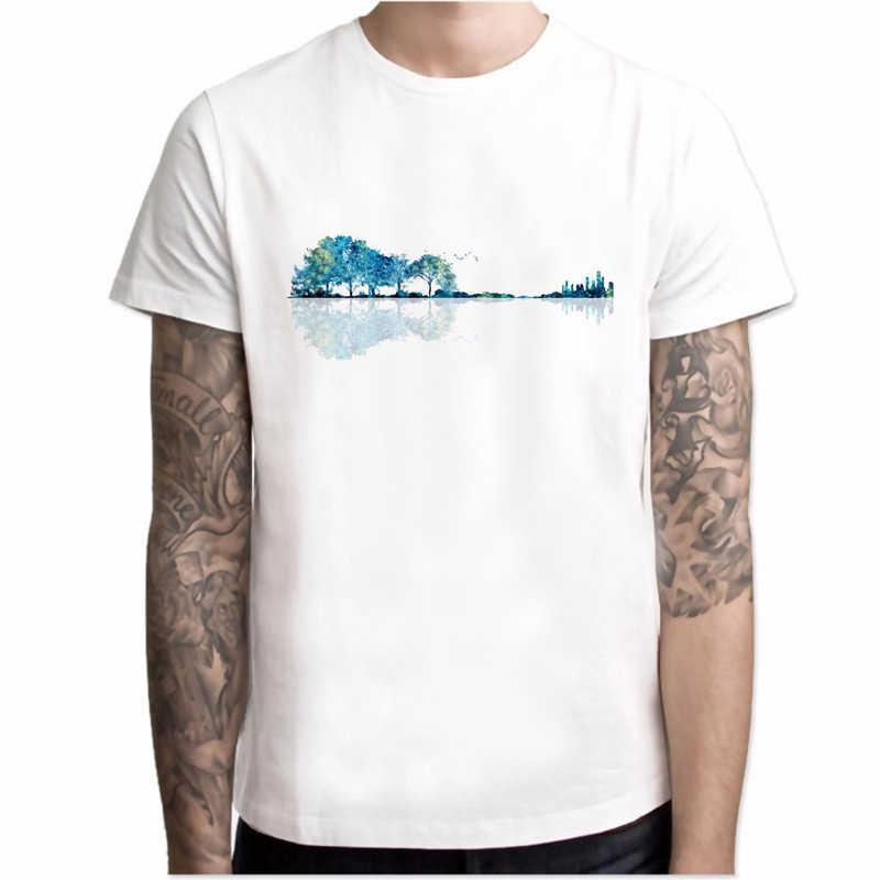 2020新tシャツ男性楽しい自然ギターファッション夏oネック白半袖トップ小説デザインtシャツオムヒップスター男性のトップ