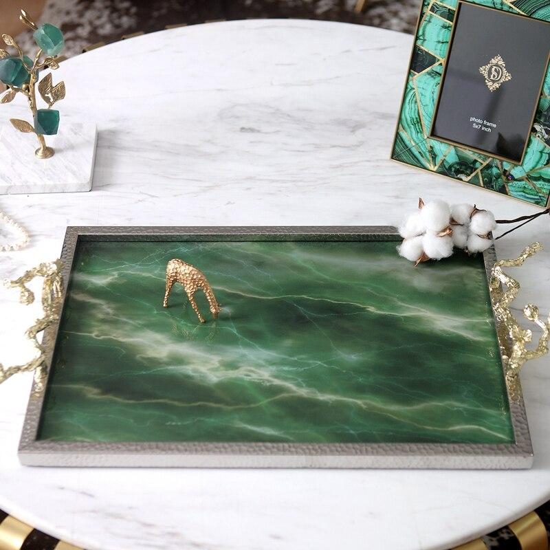 Plateau créatif rectangulaire en pierre d'agate verte | Plateau de Texture, ornement de luxe, plateau de rangement de Table en marbre, plateau de service - 2