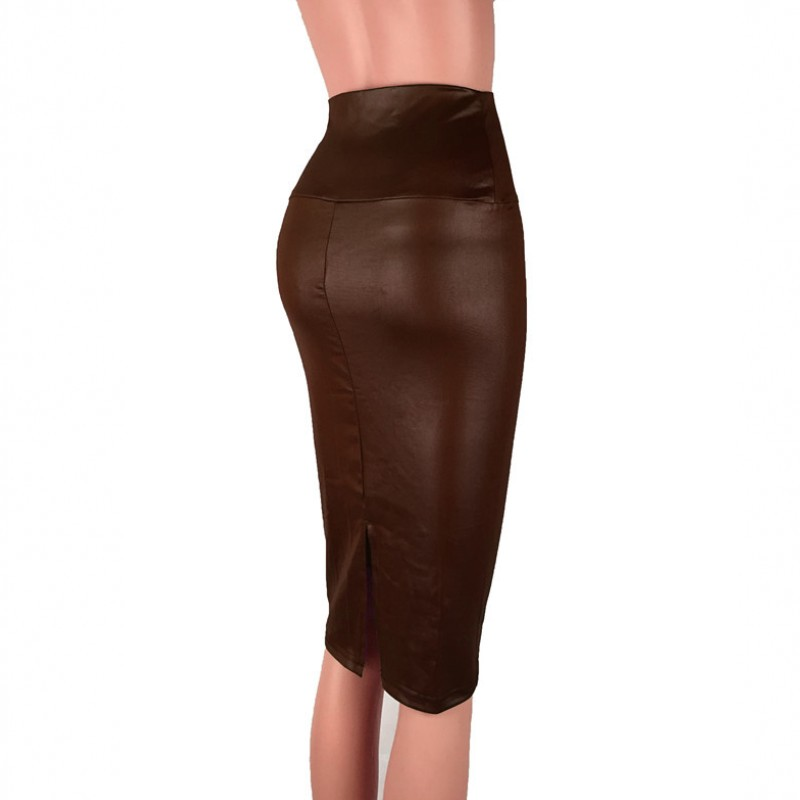 Black PU Leather Skirt Women 2020 New Midi Sexy High Waist Bodycon Split Skirt Office Pencil Skirt Knee Length Plus Size