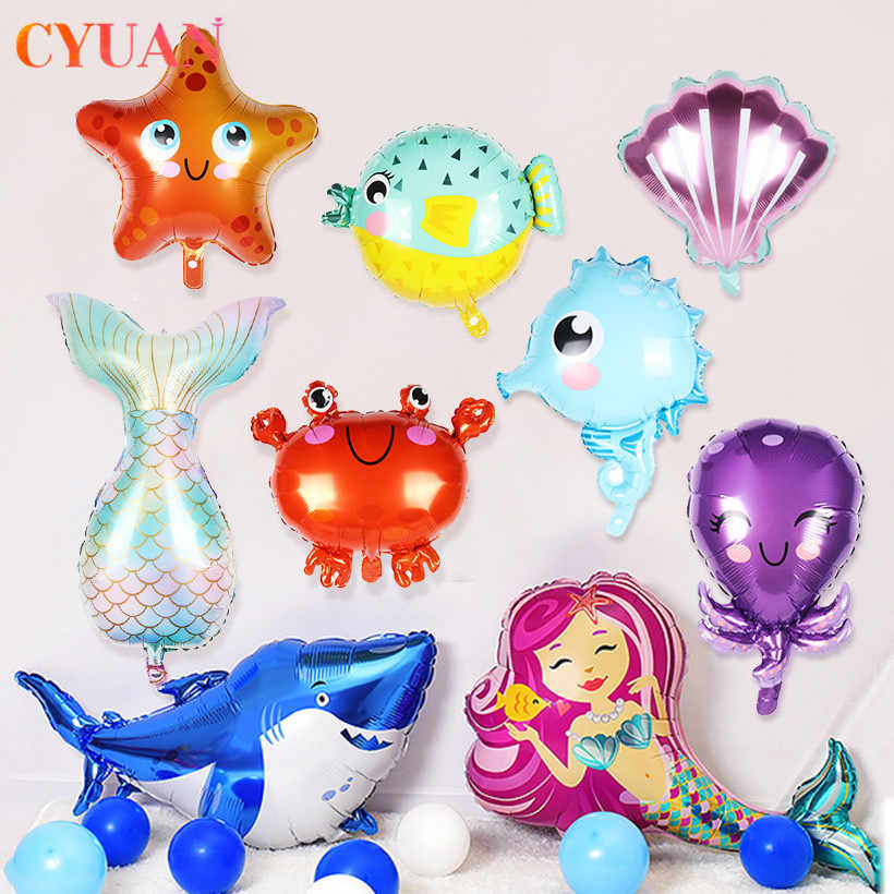 Ocean World Decoration Shell Mermaid Tail Balloon Sea Animal Fish Octopus Air Ball Globos Sea Theme Birthday Party Supplies