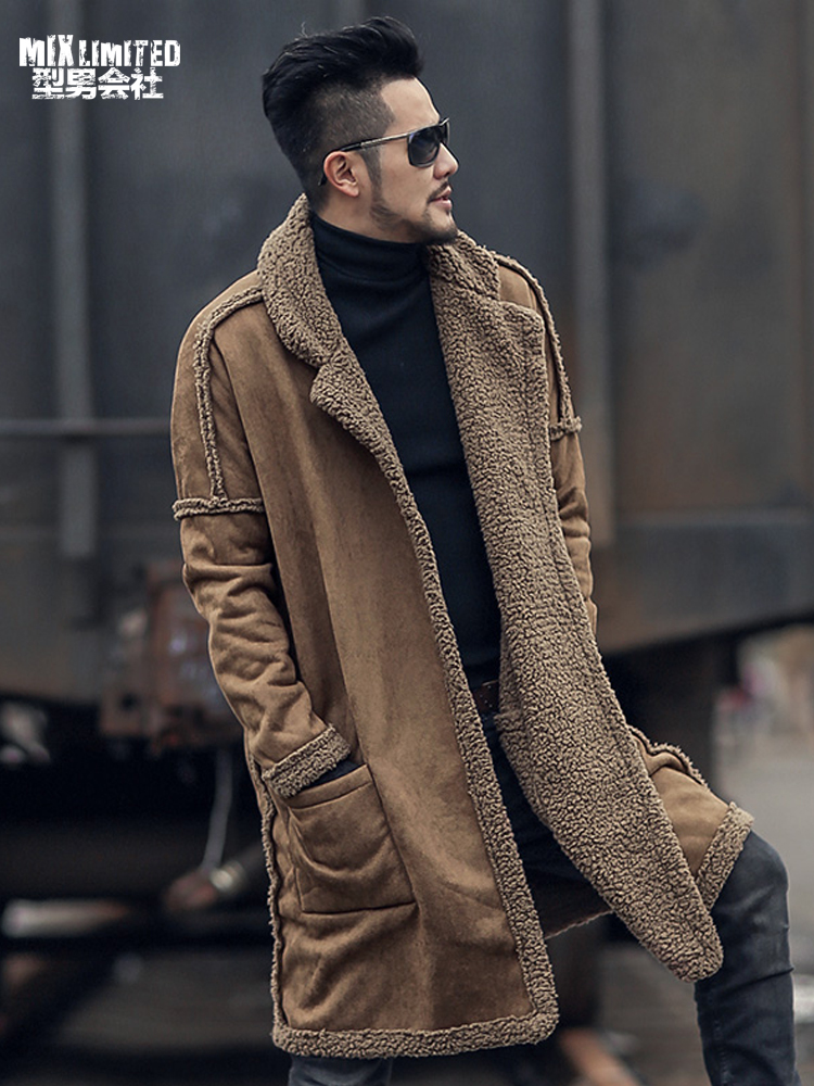 Double-sided Wear Woolen Furry Fleece Jacket Long Warm Coat For Men Winter Men Plush European Style Brand New Coat F7099-1