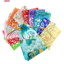 50 шт., сумки из органзы, ювелирные изделия, свадебные сувениры, вечерние, с рисунком сердца, с принтом, для упаковки, дисплей и подарочные пакеты 7ZSH323-328
