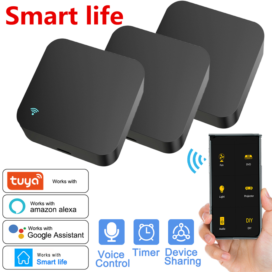 Smart WIFI IR Remote Control Universal Infrared Tuya Smart Home Remote Controller for TV DVD AUD AC Works with Alexa Google Home