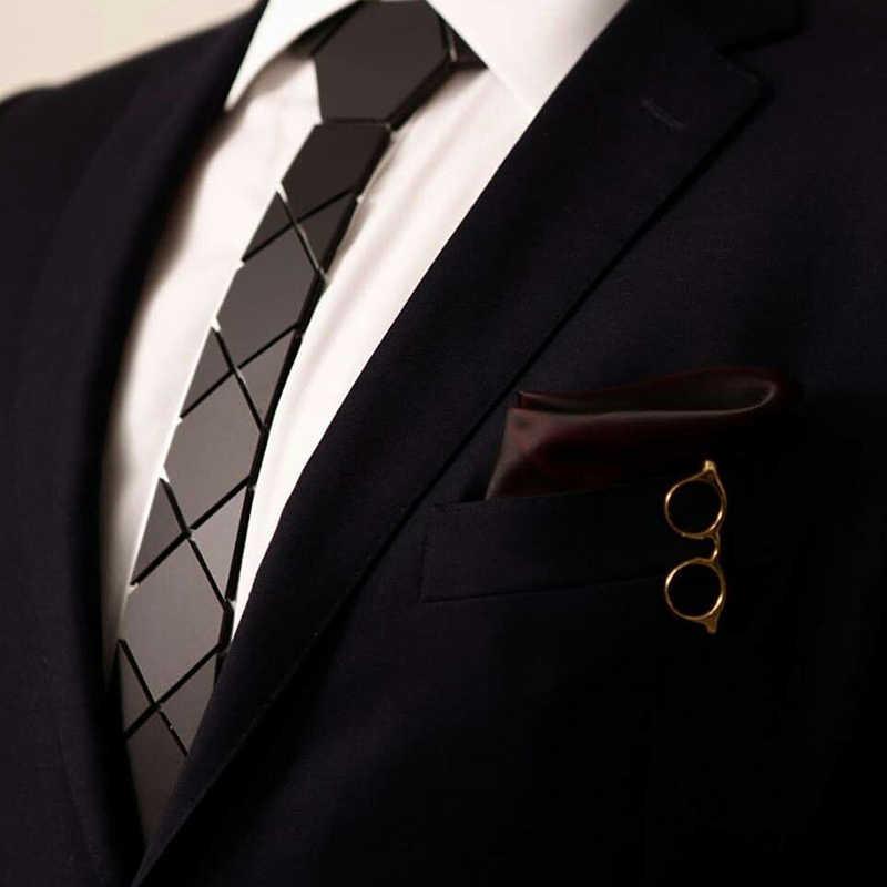 Sześciokątne krawaty luksusowe marki Ins gorące sprzedawanie klasyczne krawaty matowy czarny akrylowy czarny krawaty prezenty dla zakochanych firm Party Neck Wear