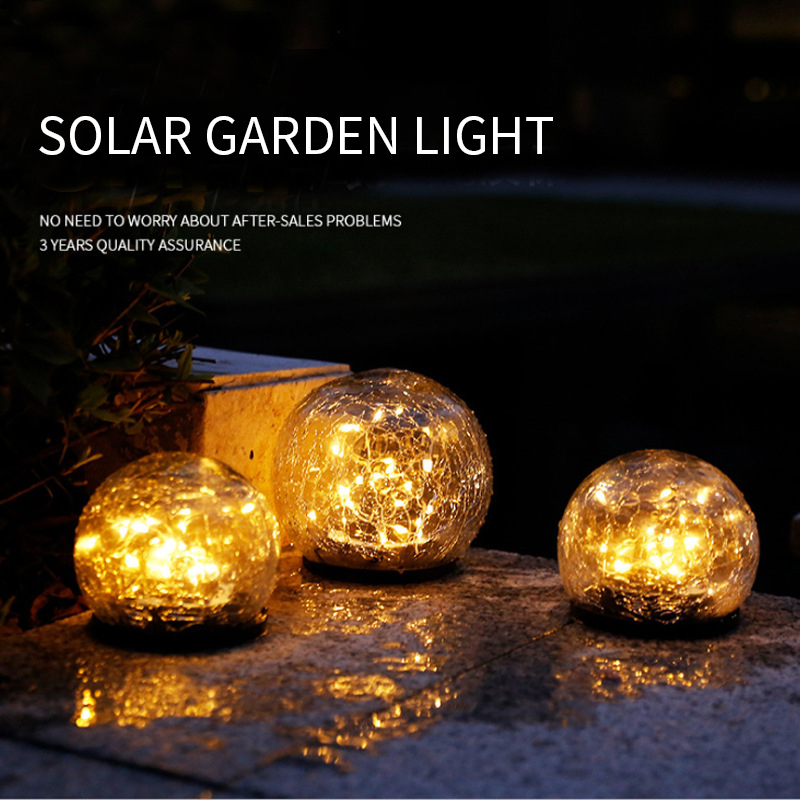 Cracked Glass Ball LED Solar Light Garden fairy decoration lamp Outdoor Elegant Waterproof Ground Buried Light for Yard Lawn