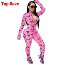 Hot Sale Sexy Club Jumpsuit For Women Clubwear 2020 Autumn Winter Slim Printed Zipper